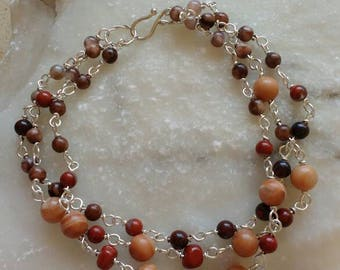 Nature jewelry-Brown-silver- bracelet- terracotta-Brown-natural stones- multi strands -handmade-boho-bracelet-birthday gift - ready-to-ship.