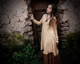 Knitted Silk Antique peach Bohemian Dress Natural Earthy Fair Trade