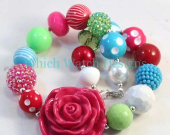 Merry and Bright.. Chunky Green, Dark Pink, Blue, Red and White Toddler Bubblegum Necklace