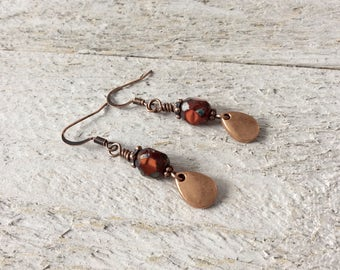"Red Czech Glass Earrings / One-of-a-Kind / Cranberry Beads / Antique Copper / Teardrop Charm / Drop / Dangle - 1 3/4"" long"