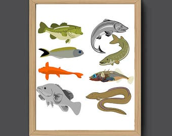 Nursery Decor | Nursery Fish Print, Nursery Wall Art, Nautical Art, Fish Art Print, Nursery Wall Decor, Fish Print, Fish Wall Art