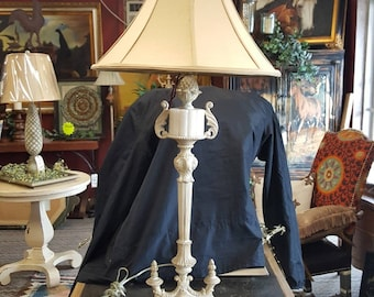 Vintage Metal Table Lamp Silk Shade Accent Lamp