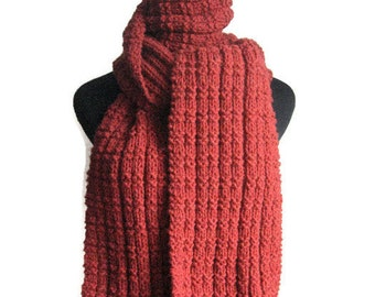 Hand Knit Scarf, Red Scarf, Vegan Knits, Mens Accessories, Vegan Scarf, Redwood Heather Scarf, Long Scarf, Womens Accessories, Mens Scarf