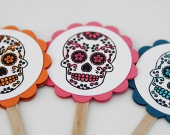 Sugar Skull Dia De Los Muertos Cupcake Toppers Set of Twelve, Party Decorations, Day of the Dead Decor