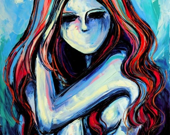 Abstract Nude print colorful art by Aja Femme 320 9x12 and