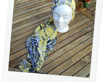 stole - scarf - headband - turban - yellow chemo scarf black and white patterns (hat, hat) designed for the summer