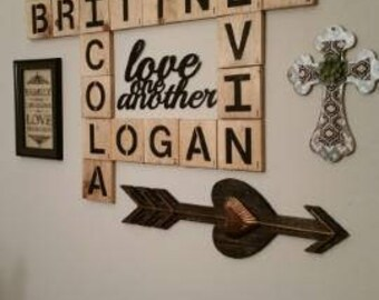 Scrabble wall art, large wood letters, wood tiles ,family names, personalized wall decor