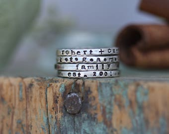 Personalized stackable stacking rings...hand stamped sterling silver stacking rings.