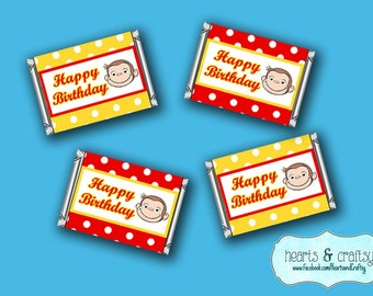 Curious George Mini Candy Bar Wrappers / Curious Monkey Mini Chocolate Bar Wraps - FILE to PRINT DIY