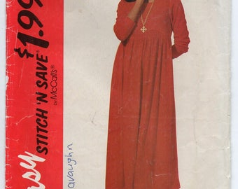 Loose Fitting Dress With Empire Bodice Size 6 8 10 12 Sewing Pattern 1994 Stitch N Save McCall's 7208
