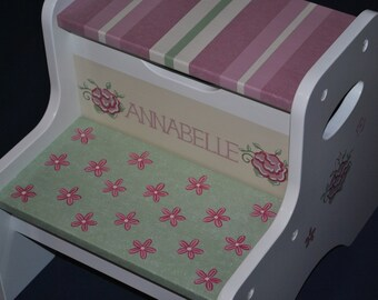 Kids Personalized 2 Step Stool--Floral PATCHWORK