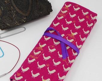 DPN Case, Knitting Needle Organiser, Knitting Needle Tidy,  Knitting Needle Roll, Knitting Needle Case, DPN Roll, DPN Pouch in Linen