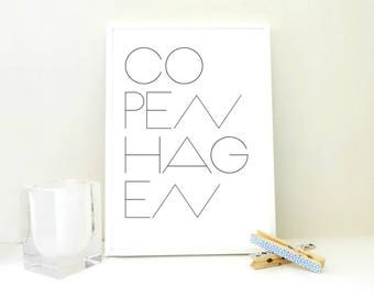 Copenhagen Printable Print, Copenhagen Art Print, Typography Print, Minimal Art Print, Scandinavian Poster, Travel Print, Denmark, JPG & PDF