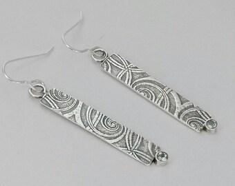 Sterling silver handmade embossed drop earrings with 3m Aquamarine gemstones. Hallmarked in Edinburgh