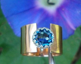 Ring -  London Blue Topaz in 1/2 inch wide Eco Friendly 14k gold filled set in sterling silver- READY to MAIL Size 8 (fits size 6) SALE