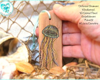 Blue Jellyfish Ornament, Driftwood Art Ornament, Pyrography and Pencil, #DWOR18