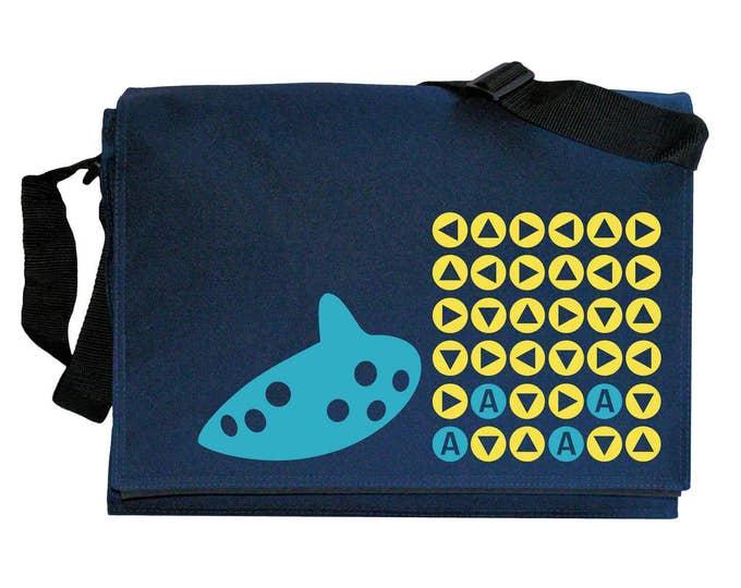 Ocarina Songs Zelda inspired Navy Blue Messenger Shoulder Bag