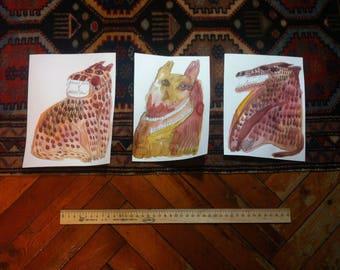 dogs\wolfs\animals trio original painting 3 set watercolour