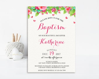 Floral Baptism Invitation, Christening Invitation, Floral Baptism, Printable Invitation, First Communion Inviation, Baby Girl Baptism, Pink