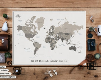 World map poster with Quote / Personalized poster / Push pin world map / World travel map print / Custom quote print / Push pin travel map