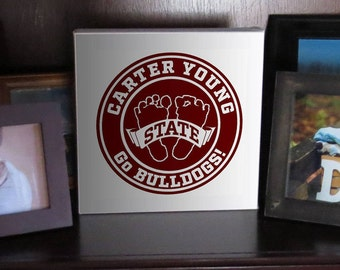 Custom Made Mississippi State Bulldogs Baby Footprint