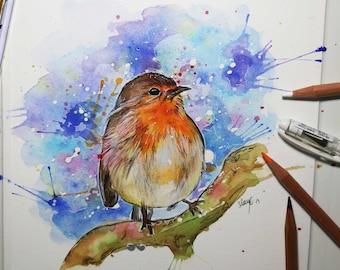 Robin Watercolor, bird print, bird art, christmas, bird illustration, wildlife print, art print, watercolor, bird