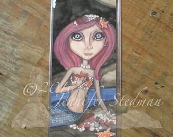 Fantasy artwork, hidden treasures, mermaid art bookmark, big eyes, big eyed beauty