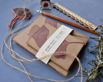 "Handmade notebook set with recycled paper, handmade journal, handprinted journal, gift for her, ""gingko leaves"""