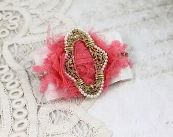 Vintage Jeweled White Velvet Cuff Bracelet,  Coral and White Assemblage Bracelet, Victorian Velvet Cuff, Boho Velvet Cuff