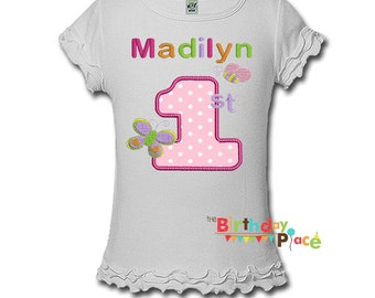 Butterfly and Bee Birthday Shirt or bodysuit- Any Age and color scheme (3098)