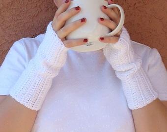 White Fingerless Gloves, Snow White Fingerless Gloves for Women, Crochet Crocheted Fingerless Gloves Arm Warmers Wrist Warmers MADE TO ORDER