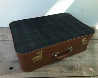 Vintage Brown travel trunk suitcase + fabric Scottish + Vintage Leather handle