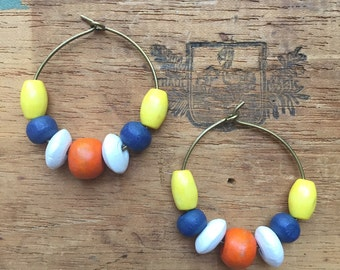 Everyday Style, The Perfect Affordable Holiday Gift! WOMEN'S EARRINGS, Yellow, Orange, Blue, Wood, Brass, Lightweight, 25mm, Super-Stylish!,