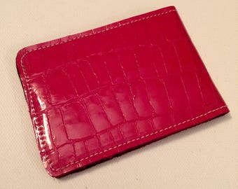 Red genuine leather cardholder. Protecting inlayer