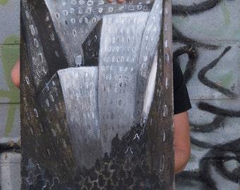 New York City - Street Crowd - An Original black & white cityscape illustration,painting