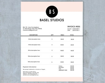 The Nelson Invoice Template Receipt MS Word - Etsy invoice template
