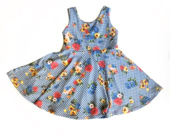 Blue gingham floral dress spring dress flowers twirl dress baby dress girls dress