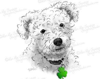 Poodle Art with Shamrock Pet ID Tag, Digital Download Dog Clipart, Scrapbooking Clipart, Paper Crafts, Dog Portrait, Dog Art (01710b17v)