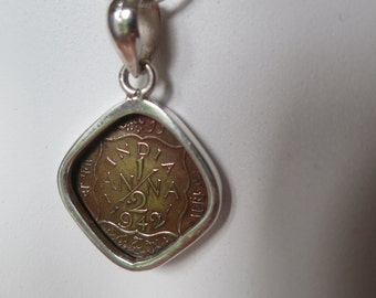 Brass coin pendant,1942, genuine antique indian coin set in 92.5 sterling silver