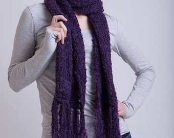 Natural Mohair Scarf in Dark Blue Plum