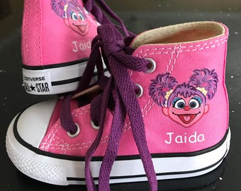 Abby Cadabby Shoes - Custom Kid Converse Sesame Street Shoes - Custom Personalized High Top Converse Shoes