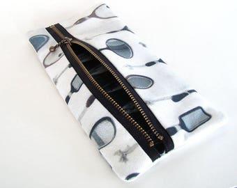 Zipper purse, original wallet pouch, zip make-up bag, iphone wallet, mirrors