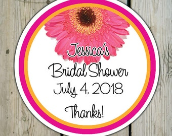 Round Custom Gerbera Daisy Favor Labels / Stickers - Gerber Daisy Wedding Favor Stickers / Daisy Shower Labels / Daisy Birthday
