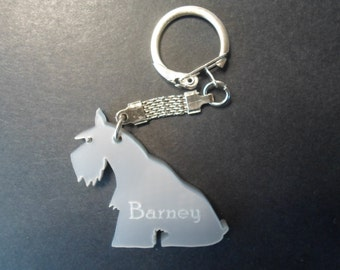 Gifts under a tenner Schnauzer keyring with dogs name etched   satin silver in colour