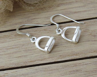Sterling Silver Stirrup Earrings, Small Stirrup Earrings, Equestrian Jewelry, Stirrup Drop Earrings, Silver Dangle Drop Stirrup Earrings