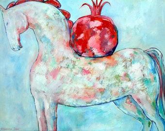 WHITE HORSE with POMEGRANATE original oil painting on canvas home decoration