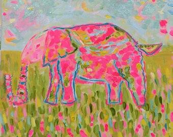 """Jelly Bean the Elephant, 14""""x14"""" acrylic on canvas"""