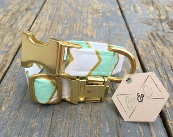 Dog Collar, Mint Gold Dog Collar, Chevron Dog Collar, Mint Collar, Gold Dog Collar, Boho Dog Collar, Cat Collar, Metallic Dog Collar, Fabric