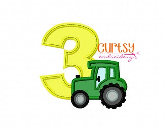 Tractor Embroidery Design, Tractor Applique Design, Tractor Embroidery Design, Third Birthday Embroidery Design, 3rd Birthday Rocket