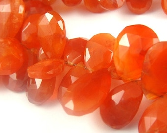 4 Pcs Carnelian Faceted Pear Briolette, MATCHED PAIRS- 10-11x8mm